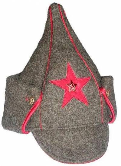 Soviet Budionovka cavalry hat with ear flaps