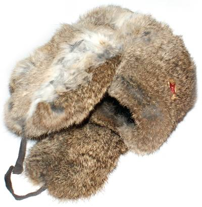 Rabbit fur ushanka winter hat. Brown.