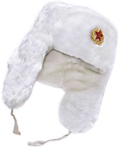 White winter hat earflaps pulled down