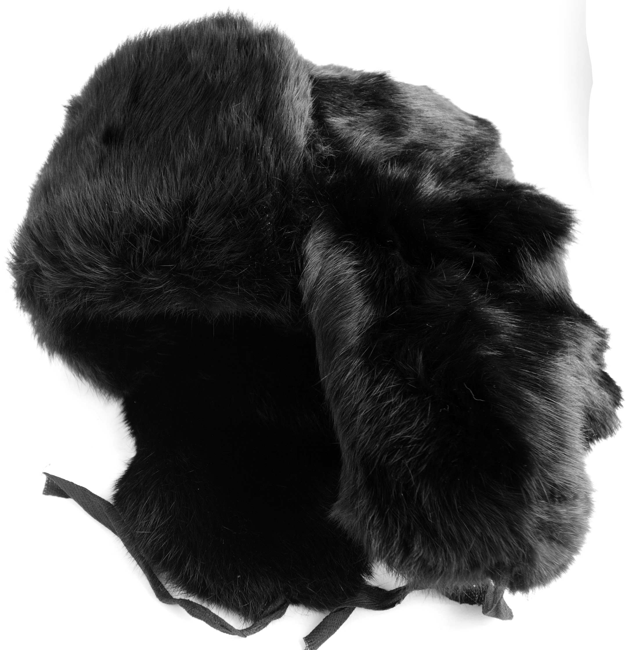 5da09dac402 Ushanka made of black rabbit fur with warm interlining