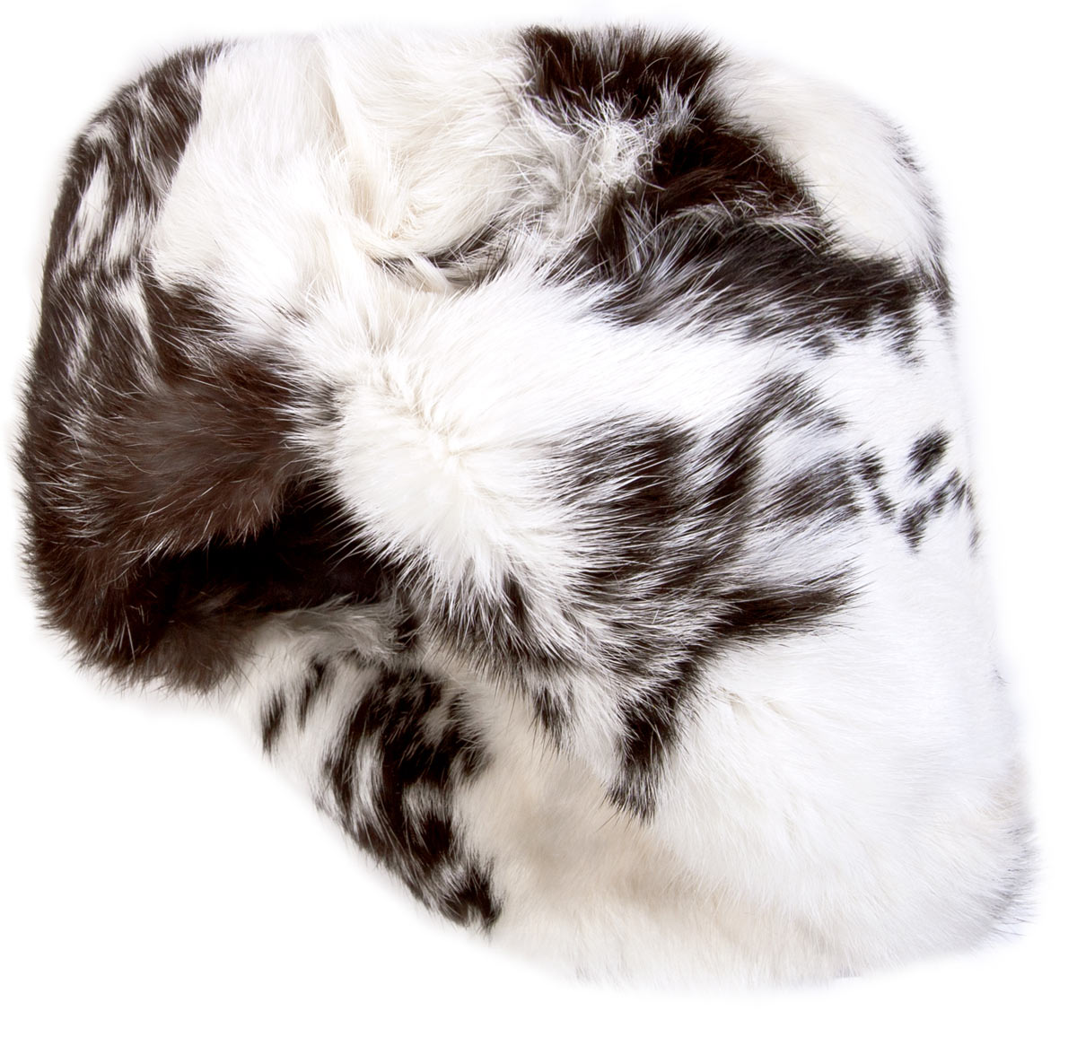 Rabbit fur ushanka winter hat. White and black. 6516f9cddc8