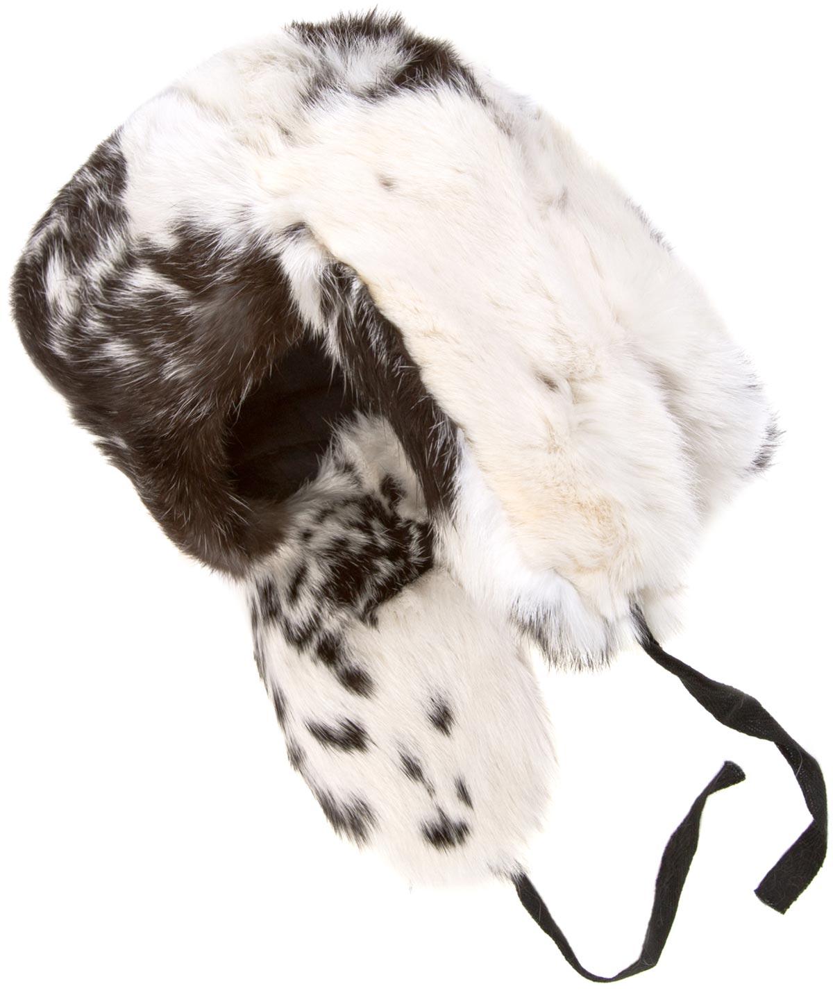 757d7e0b8 Rabbit fur ushanka winter hat. White and black.